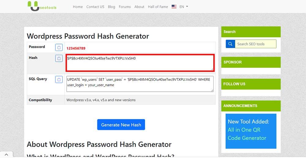آموزش تغیر رمز وردپرس از دیتابیس phpMyAdmin دریافت هش رمز عبور مخصوص وردپرس